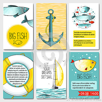 Free Set Of 6 Cards Templates With Sea Background Stock Photography - 76224382