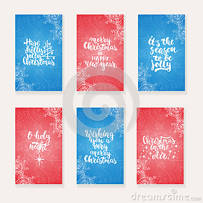 Free Set Of 6 Christmas And New Year Greeting Cards With Hand Drawn Brush Lettering And Doodles. Holiday Invitation. Royalty Free Stock Photo - 82163745