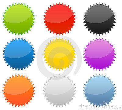 Free Set Of 9 Web 2.0 Glossy Starburst Buttons Stock Photos - 8203683