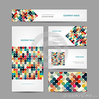 Free Set Of Abstract Creative Business Cards Design Royalty Free Stock Images - 42858239