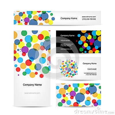 Free Set Of Abstract Creative Business Cards Design Stock Image - 43627471