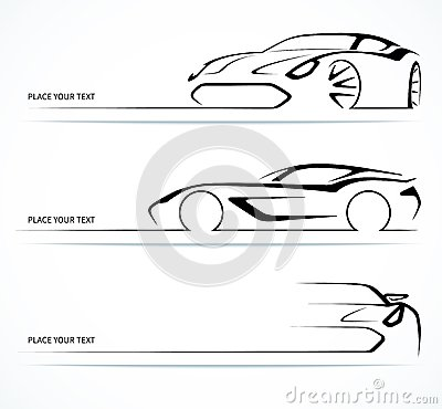 Free Set Of Abstract Linear Car Silhouettes. Royalty Free Stock Photo - 43866315