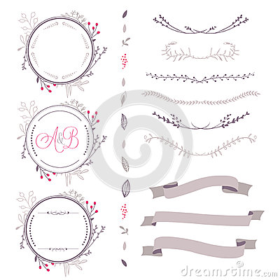 Free Set Of Abstract Vector Floral Elements, Frame, Ribbon,etc Royalty Free Stock Image - 52185476