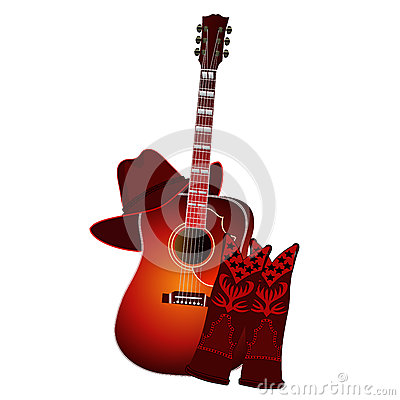 Free Set Of Acoustic Guitar, Cowboy Boots And Cowboy Hat Isolated On White Background. EPS10 Vector Illustration Royalty Free Stock Photos - 67504738