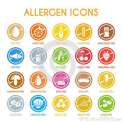 Free Set Of Allergen Icons Stock Photography - 69910372