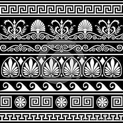 Free Set Of Antique Greek Borders On Black Stock Photography - 14606042