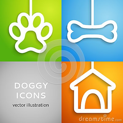 Free Set Of Applique Doggy Icons. Vector Illustration Stock Photography - 32281902