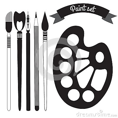 Free Set Of Art And Paint Supplies Vector Royalty Free Stock Image - 38990846