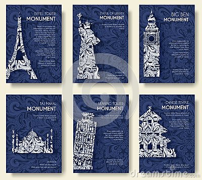Free Set Of Art Ornamental Travel And Architecture On Ethnic Floral Style Flyers. Historical Monuments Of France, England Royalty Free Stock Image - 71538626