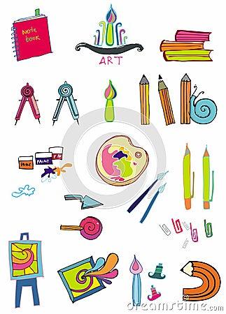 Free Set Of Art Supplies Stock Image - 3945961