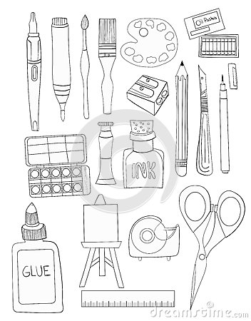 Free Set Of Art Supplies Line Art Illustrations White Fill Hand Drawn Royalty Free Stock Photo - 70326135