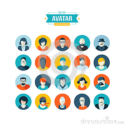 Free Set Of Avatar Flat Design Icons Royalty Free Stock Images - 40410989