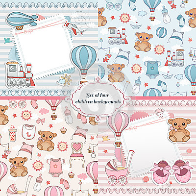 Free Set Of Baby Cards. Newborn Card Design Stock Photography - 44496902