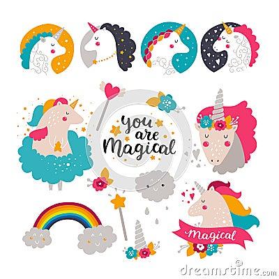 Free Set Of Baby Unicorn And Rainbow Royalty Free Stock Photography - 74941347
