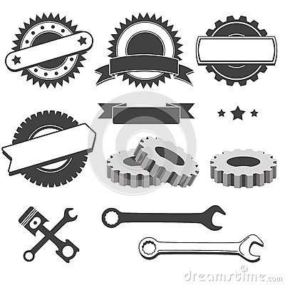 Free Set Of Badge, Emblem, Logotype Element For Mechanic, Garage, Car Repair, Auto Service Stock Photo - 57652620