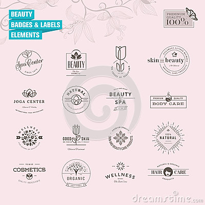 Free Set Of Badges And Labels Elements For Beauty Stock Photo - 43830540