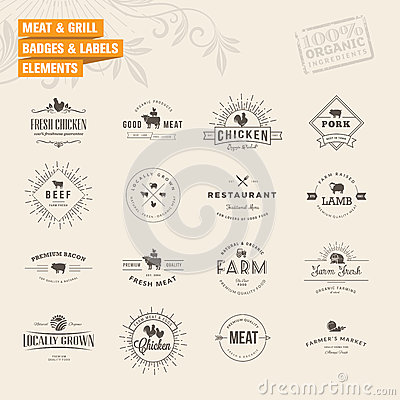 Free Set Of Badges And Labels Elements For Meat And Gri Royalty Free Stock Images - 43830609