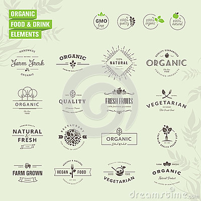 Free Set Of Badges And Labels Elements For Organic Food Stock Photos - 43830613