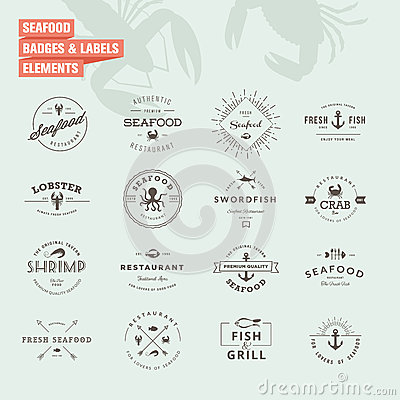 Free Set Of Badges And Labels Elements For Seafood Royalty Free Stock Photos - 43830738