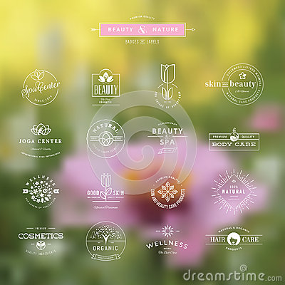 Free Set Of Badges And Labels For Beauty Royalty Free Stock Photo - 44384905