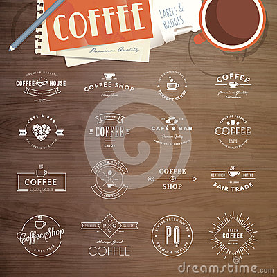 Free Set Of Badges And Labels For Coffee Royalty Free Stock Photos - 44384848