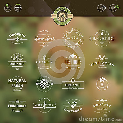 Free Set Of Badges And Labels For Organic Food And Drin Royalty Free Stock Image - 44384876