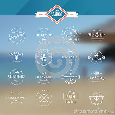 Free Set Of Badges And Labels For Seafood Stock Photos - 44384933