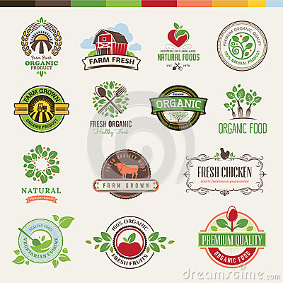 Free Set Of Badges And Stickers For Organic Products Royalty Free Stock Images - 33088419