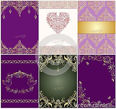 Free Set Of Beautiful Wedding Vintage Invitations Royalty Free Stock Images - 65869749