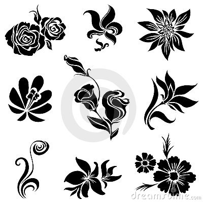 Free Set Of Black Flower Design Elements Royalty Free Stock Photos - 15389628