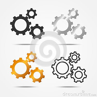 Free Set Of Black, Gray, Silver And Gold 3 Gears Or Cogs Sign Simple Icon With Shadow On White Background Stock Images - 103437474