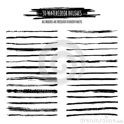 Free Set Of Black Watercolor, Ink Hand Drawn Brush Strokes, Borders Stock Photography - 62407192