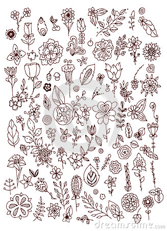 Free Set Of Black White Doodle Flowers Leaves. Hand Drawn Design Elements. Brown & White. Vintage. Stock Images - 69629844