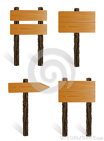 Free Set Of Blank Wooden Sign Boards Stock Image - 26199271