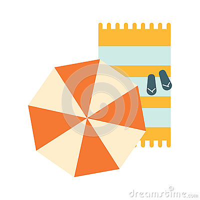 Free Set Of Blanket , Umbrella And Flip-Flops On The Sand, Part Of Summer Beach Vacation Series Of Illustrations Royalty Free Stock Photography - 86224317