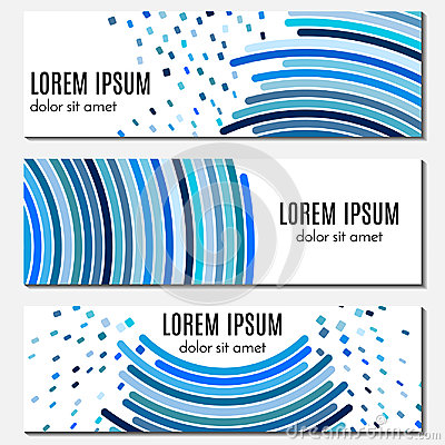 Free Set Of Blue Abstract Header Banners With Curved Lines And Flying Pieces And Place For Text. Stock Photo - 96448120