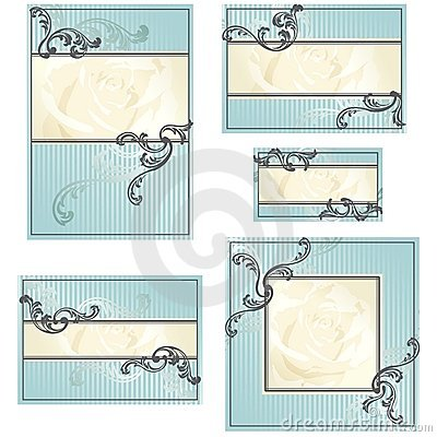 Free Set Of Blue Rococo Wedding Designs Stock Image - 20771861