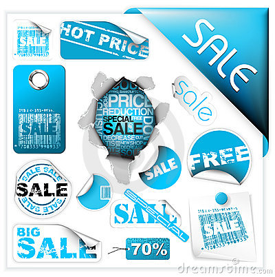 Free Set Of Blue Sale Tickets, Labels And Stickers Stock Image - 11676191