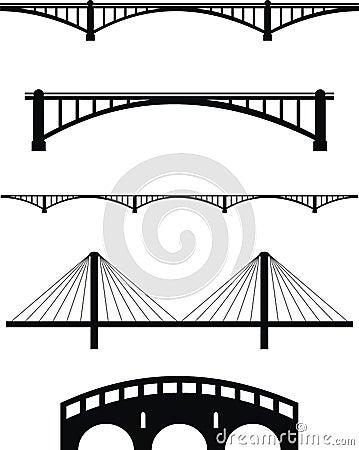 Free Set Of Bridge Silhouettes Stock Photos - 20032873
