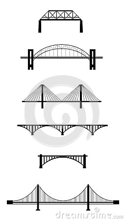 Free Set Of Bridge Silhouettes Royalty Free Stock Image - 28539156