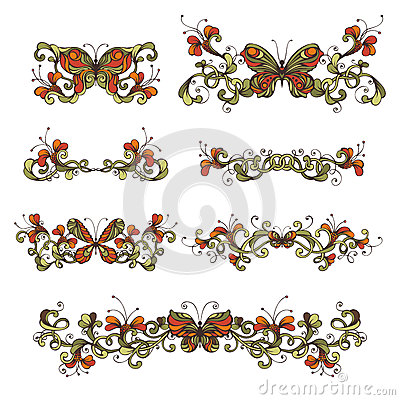Free Set Of Bright Floral Design Elements And Page Decorations. Stock Image - 56454751
