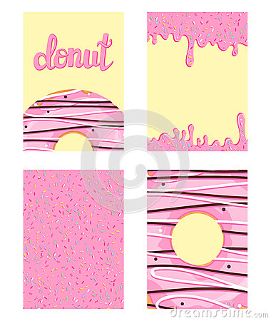 Free Set Of Bright Food Cards. Set Of Donuts With Pink Glaze. Donut Pattern, Background, Card, Poster. Vector Illustration Template For Royalty Free Stock Image - 88686886