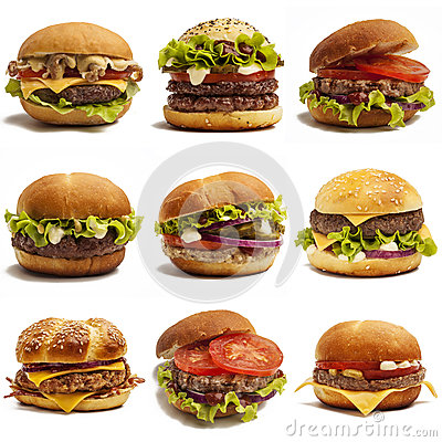 Free Set Of Burgers Royalty Free Stock Images - 42810519