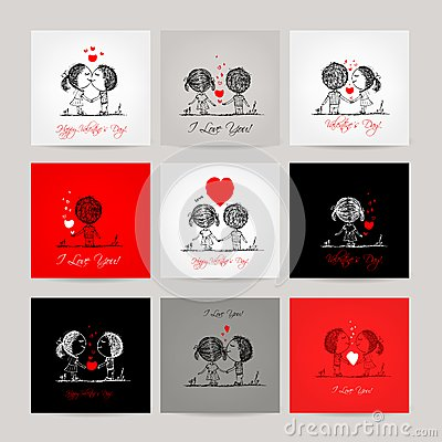Free Set Of Business Cards, Couple In Love Together Stock Photo - 42858130