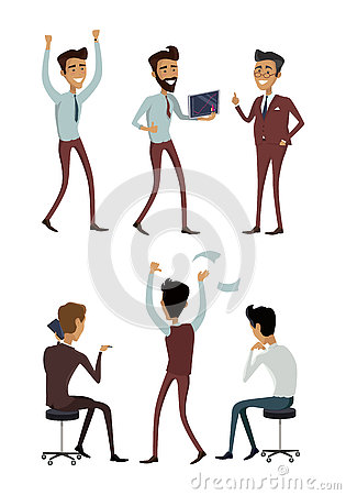 Free Set Of Business Characters Vectors Illustrations. Royalty Free Stock Images - 81692429