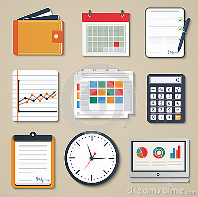 Free Set Of Business Elements Of Marketing, Reporting, Stock Photography - 38829972