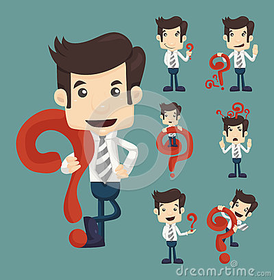 Free Set Of Businessman Characters Poses With Question Marks Royalty Free Stock Images - 37477429