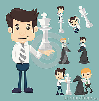 Free Set Of Businessman Fighting, Playing Chess Stock Photography - 38453582