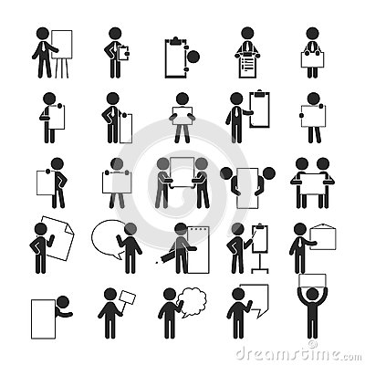 Free Set Of Businessman Holding Blank Notes , Human Pictogram Icons Stock Photos - 61388273