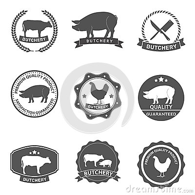 Free Set Of Butcher Shop Labels And Design Royalty Free Stock Photography - 39636177